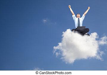 бизнесмен, компьютер, молодой, облако, сидящий