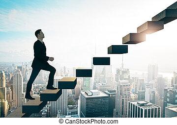 бизнесмен, рост, background., вверх, город, концепция, собирается, цель, skyscrapers, достижение, карьера, солнечно, лестница