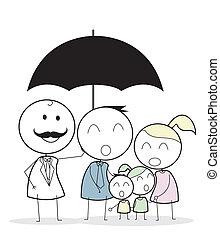 бизнесмен, семья, страхование