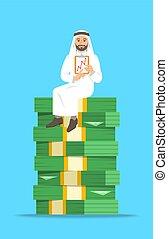 бизнесмен, сидящий, деньги, стек, арабский