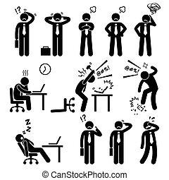 бизнесмен, стресс, офис, давление