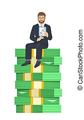 бизнесмен, успешный, сидящий, деньги, стек