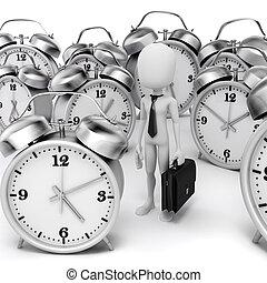 бизнесмен, часы, человек, 3d, аварийная сигнализация