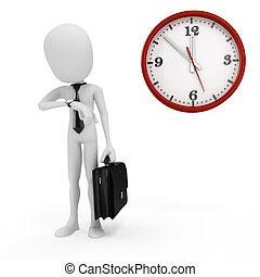 бизнесмен, часы, 3d, человек