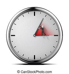 бизнесмен, человек, часы, conce, 3d