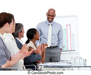 бизнесмен, этнической, статистика, presenting, компания