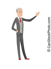 бизнесмен, hand., outstretched, кавказец