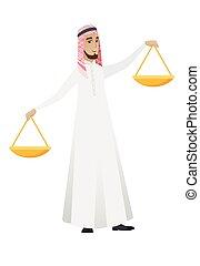 бизнесмен, scale., баланс, держа, мусульманка