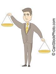 бизнесмен, scale., баланс, кавказец, держа