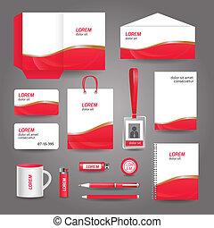 бизнес, абстрактные, волнистый, шаблон, канцелярские товары, красный