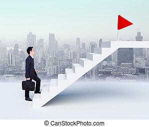 бизнес, вверх, задний план, человек, город, stepping, красный, лестница, флаг