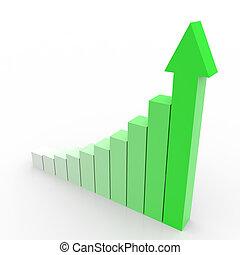 бизнес, график, вверх, arrow., собирается, зеленый