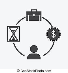 бизнес, деньги, время, бизнесмен, портфолио, icon.