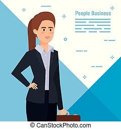 бизнес-леди, профессиональный, должностное лицо, портфель, элегантный