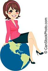 бизнес-леди, сидящий, земной шар