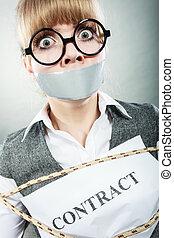 бизнес-леди, mouth., связанный, контракт, taped