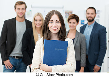 бизнес-леди, vitae, учебный план, держа, ее