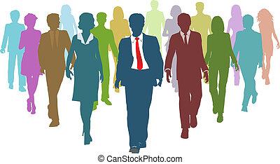 бизнес, люди, разнообразный, человек, команда, лидер, ресурсы