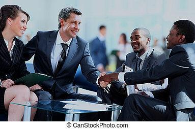 бизнес, люди, руки, вверх, meeting., finishing, shaking