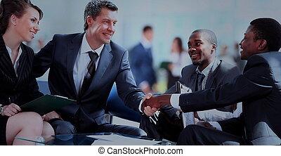 бизнес, люди, руки, shaking, вверх, finishing, встреча
