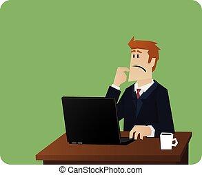 бизнес, мышление, за, компьютер, стол письменный, человек