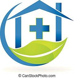 бизнес, природа, символ, клиника, вектор, логотип, медицинская