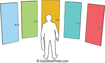 бизнес, решение, choices, человек, выберите, doors