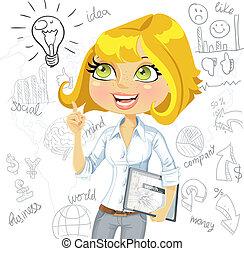 бизнес, таблетка, идея, задний план, doodles, девушка, электронный, вдохновение