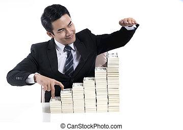 бизнес, экспоненциальный, показать, молодой, рост, бизнесмен, инвестиции