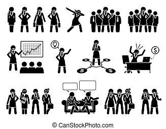 бизнес, figures, pictogram., профессиональный, или, бизнес-леди, придерживаться, леди