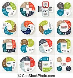 бизнес, infographic, диаграмма, 4, круг, options