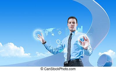 био, стиль, collection., concepts, молодой, бизнесмен, будущее, interior., интерфейс, с помощью, голограмма, футуристический, красивый