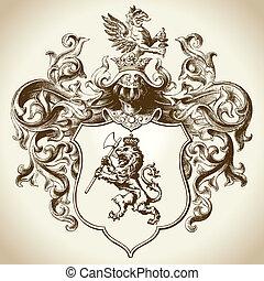 богато украшенный, геральдический, герб