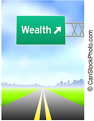 богатство, шоссе, знак