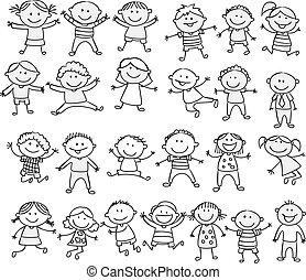 болван, счастливый, мультфильм, коллекция, дитя