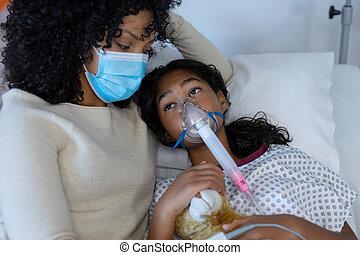 больница, дочь, вентилятор, мама, смешанный, держа, кислород, лицо, раса, больной, тедди, маска