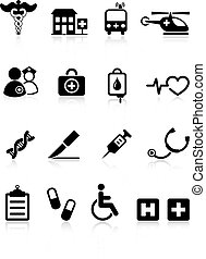 больница, медицинская, значок, коллекция, интернет