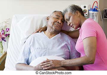 больница, пара, старшая, embracing