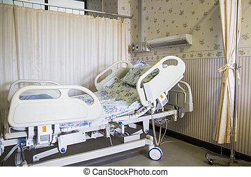 больница, пустой, комната, постель