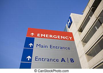 больница, современное, крайняя необходимость, знак