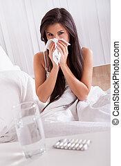 больной, женщина, грипп, холодно, постель