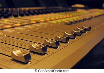 большой, аудио, -, смеситель