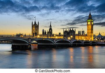 большой, бен, закат солнца, uk, лондон