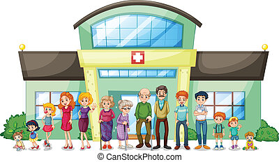 большой, больница, за пределами, семья