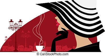 большой, женщина, кафе, шапка