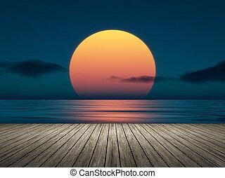 большой, закат солнца