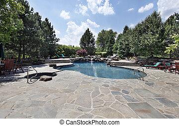 большой, камень, внутренний дворик, бассейн, плавание