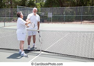 большой теннис, copyspace, рукопожатие, seniors