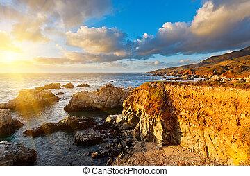 большой, тихий океан, закат солнца, sur, берег