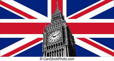 большой, флаг, бен, uk, британская